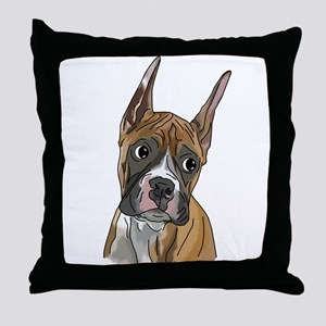 Perky Boxer Dog Portrait Throw Pillow